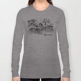 WAY OF THE OCEAN - Waves Print Long Sleeve T-shirt