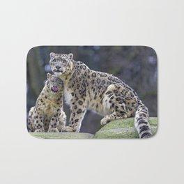 Two Stunning Elegant Snow Leopards Cuddling Close Up Ultra HD Bath Mat