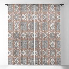 Gray Brown Taupe Beige Tan Black Hip Orient Bali Art Sheer Curtain