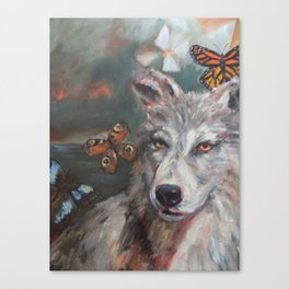 Butterfly Wolf Canvas Print