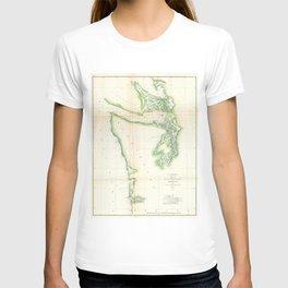 Vintage Map of Coastal Washington State (1857) T-shirt