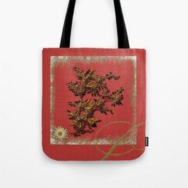 Golden flower on red Tote Bag