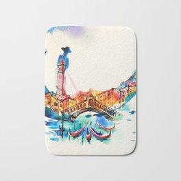 Vintage Gondola Venice City Travel Love Watercolor Bath Mat
