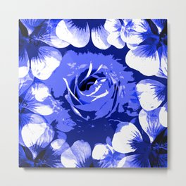 Roses Blue and White Toil #1 Metal Print