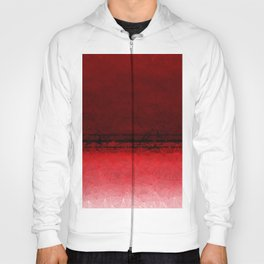 Deep Ruby Red Ombre with Geometrical Patterns Hoody