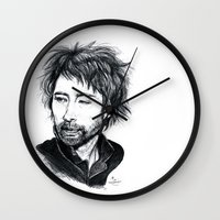 radiohead Wall Clocks featuring Thom Yorke [Radiohead] by ieIndigoEast