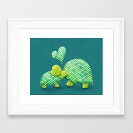 Sweet Turtle Hugs with Heart in Teal and Lime Green Framed Art Print