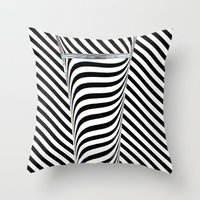 striped Throw Pillows featuring Striped Water by Steve Purnell