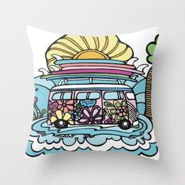 Hippie Chick Surf Bus Throw Pillow