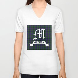 McPhail Tartan with Clan Name Unisex V-Neck