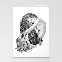 mermaid Stationery Cards featuring Mermaid by April Alayne