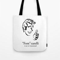 font Tote Bags featuring 'Font'-zarelli by Christian Bailey