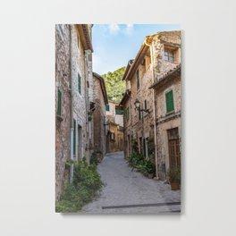 Empty street in Valldemossa village - Mallorca, Spain Metal Print