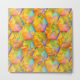 Harlequin Rainbow Leaves Metal Print
