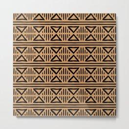 Mudcloth Pattern 333 Black and Beige Metal Print