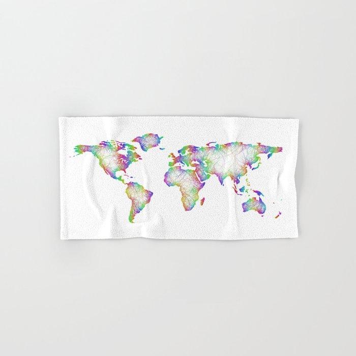 Rainbow World map Hand & Bath Towel