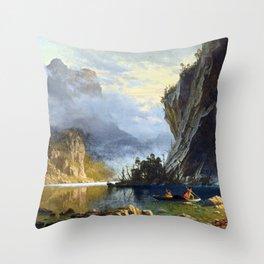 Albert Bierstadt Indians Spear Fishing Throw Pillow