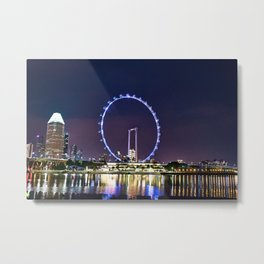 Singapore Flyer and Night Scenery. Metal Print