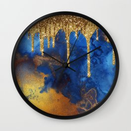 Gold Rain on Indigo Marble Wall Clock