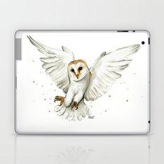 Barn Owl Flying Watercolor | Wildlife Animals Laptop & iPad Skin
