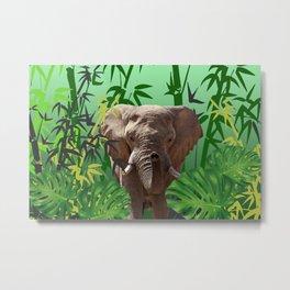 elephant between bamboo leaves Metal Print
