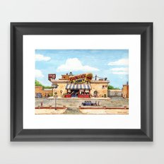 Meeting at the burger joint Framed Art Print
