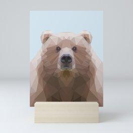 Low poly bear on blue/grey background Mini Art Print