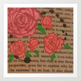 Watercolour Red Roses and Leaves on Old Paper Art Print