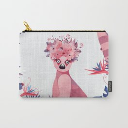 Lemur with a crown of flowers in a pinky and blue duck jungle Carry-All Pouch