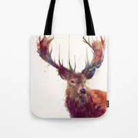 antlers Tote Bags featuring Red Deer // Stag by Amy Hamilton