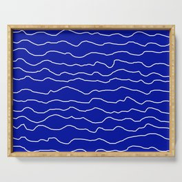 Blue with White Squiggly Lines Serving Tray