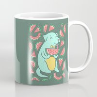 daria Mugs featuring Watermelon Dog by Anna Alekseeva kostolom3000