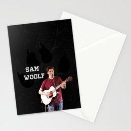 Sam Woolf - Black, Wolf Print Stationery Cards