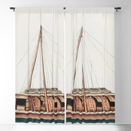 Chinese painting featuring river freight junk (ancient Chinese ship) (ca1800-1899) from the Miriam a Blackout Curtain