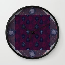 Lotus flower patchwork - woodblock print style pattern Wall Clock