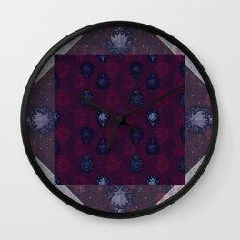 Lotus flower patchwork - woodblock print style pattern Wall Clock