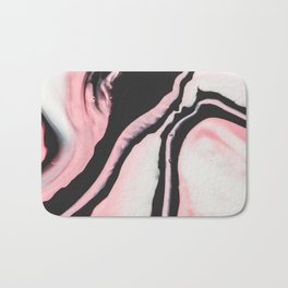 Modern Girly Coral Pink Black Marble Paint Bath Mat