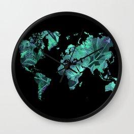 world map 77 blue Wall Clock