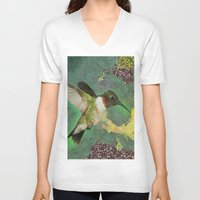 flight V-neck T-shirts featuring Flight by A.Aenska-Cholpanova