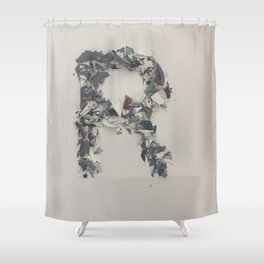 Letter R in Paint Shower Curtain