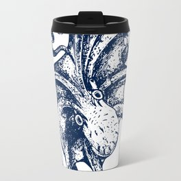 Octopus Nautical Navy and White Travel Mug