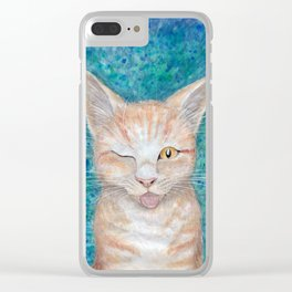 """;P ~ """"Seb the Groovy Cat"""" by Amber Marine ~ Watercolor & Acrylic Painting, (Copyright 2016) Clear iPhone Case"""
