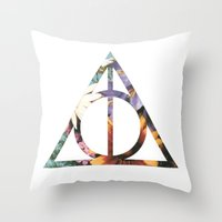 deathly hallows Throw Pillows featuring Deathly Hallows by Romana Catalini