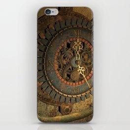 Steampunk, awesome clock, rusty metal iPhone Skin