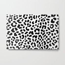 Black And White Cheetah Pattern Metal Print