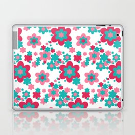 Pink Raspberry Aqua Blue Floral  Laptop & iPad Skin