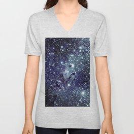 The Eagle Nebula / Pillars of Creation Midnight Indigo Teal Blue Unisex V-Neck