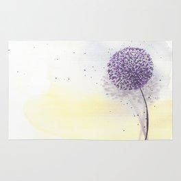 Purple dandelion in watercolor Rug