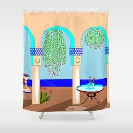 A Mediterranean Garden with Fountain Shower Curtain