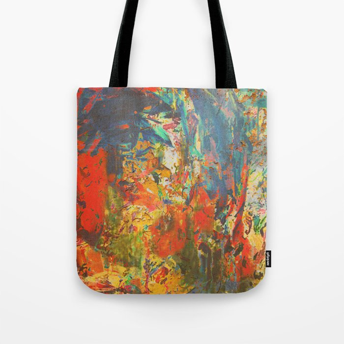 Blue and Red Wall Tote Bag